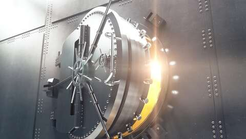 Closeup of bank vault door