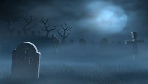 Title: Tombstones on a spooky misty graveyard, full moon at night | © Copyright Notice: ©sara_winter - stock.adobe.com