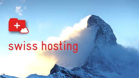 swiss hosting logo in front of Matterhorn | © Artwork by aspectra; Photo by Tim Cheung on Unsplash